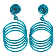 David Spada Modernist Space Age Blue Anodized Aluminum Dangling Pierced Earrings