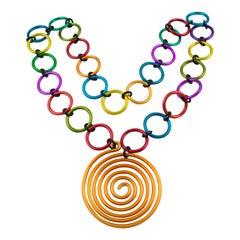 David Spada Modernist Space Age Multicolor Anodized Aluminum Pendant Necklace