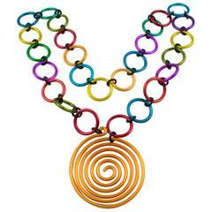 David Spada Space Age Multicolor Aluminum Pendant Necklace