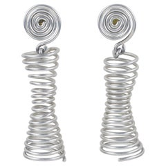 David Spada Space Age Silver Aluminum Dangle Clip Earrings