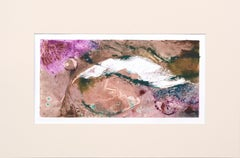 Tan and Magenta Abstract Textured Monotype