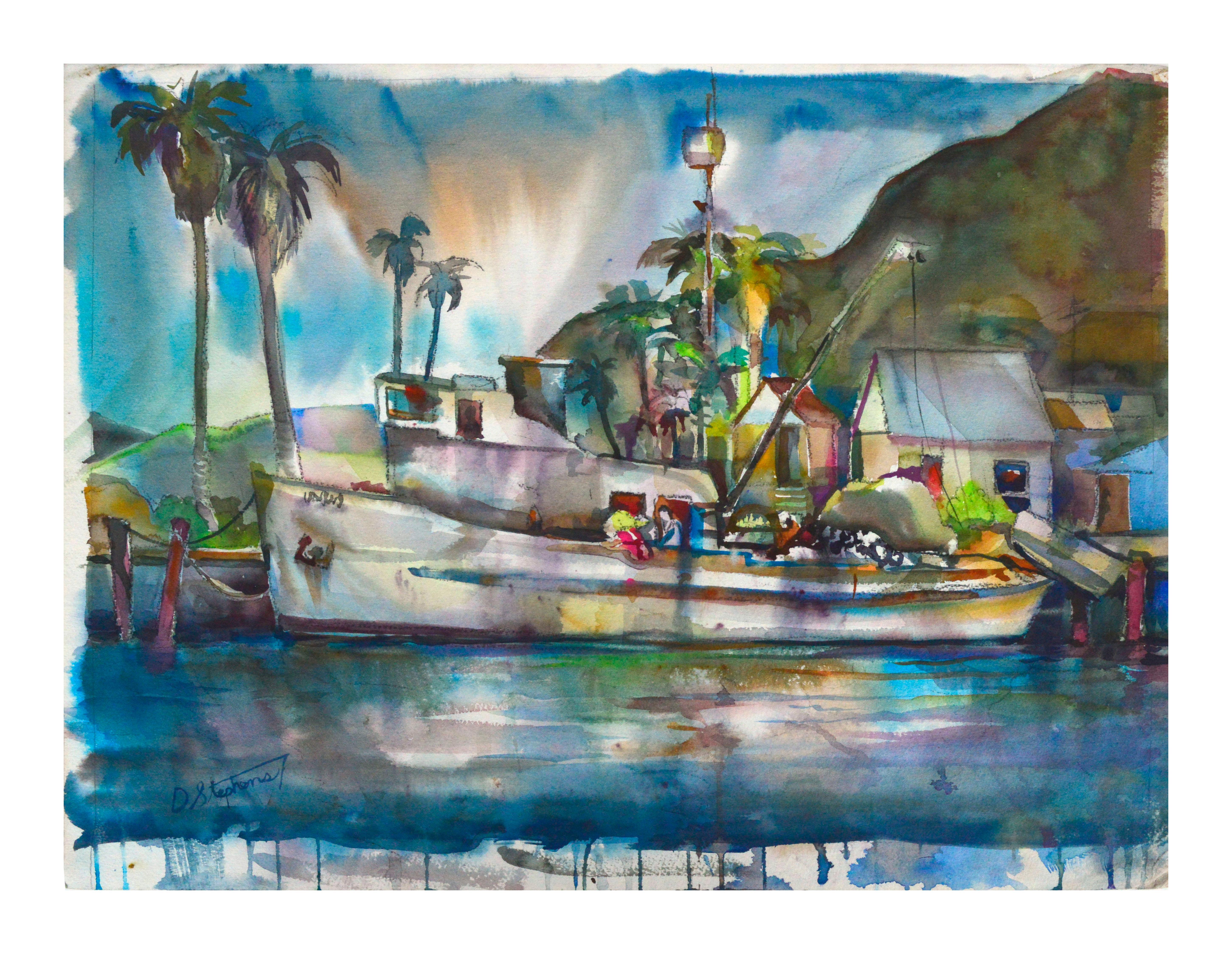 Tropical Harbor Watercolor Landscape