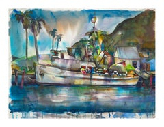 Tropical Harbor Watercolor Landscape