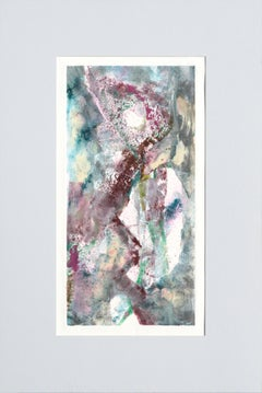 Magenta and Teal Abstract Figurative Textured Monoprint