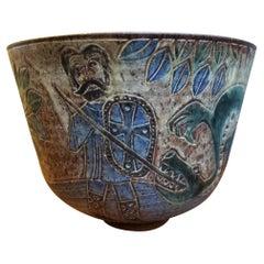 David Stewart Incised Earthenware Bowl Saint George & the Dragon