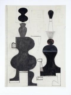 """""""V"""", 1987, Monoprint by David Storey"""