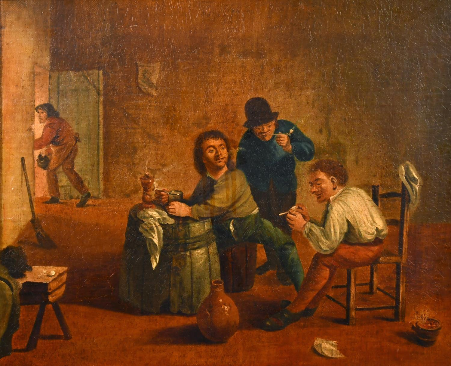17th Century Dutch Old Master Oil Painting - Tavern Interior Figures Drinking