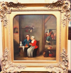 18thc Tavern Interior Dutch Genre Oil Painting After Teniers the Younger