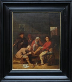 A Surgeon Attending to his Patient's Foot - Dutch 17thC Old Master oil painting