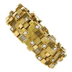 David Thomas 18 Carat Gold and Diamond Modernist Strap Bracelet, circa 1960s