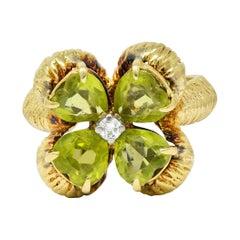 David Trabich Vintage 2.90 Carats Peridot Diamond 14 Karat Gold Four Clover Ring
