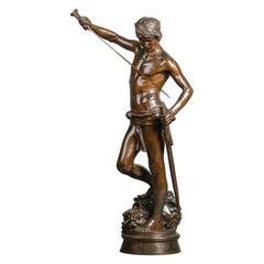 'David Vainqueur De Goliath', a Fine Patinated Bronze Figure by Antonin Mercié