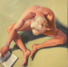 Another Day in Paradise-21st Century Contemporary Painting of a nude boy reading
