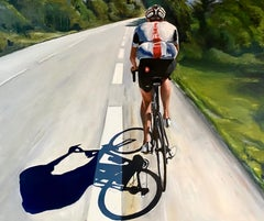 Om my Way - 21st Century Oil Painting of a Man cycling on a racing bike