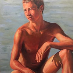 On the Beach- 21st Century  Contemporary Painting of a Nude Boy on the Beach