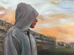 Thursday's Child-  21st Century Dutch Contemporary Painting of a boy with Hoody
