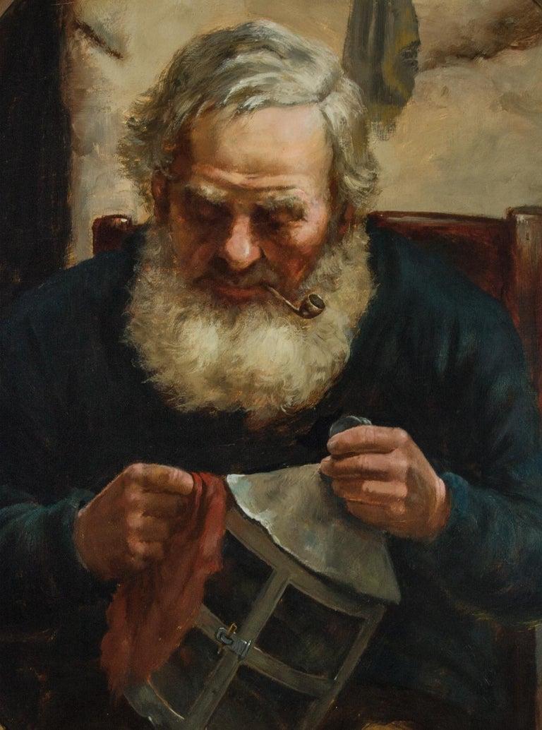 David W. Haddon (fl. 1884-1911) - English Oil, Portrait of a Cornish Fisherman - Realist Painting by David W. Haddon