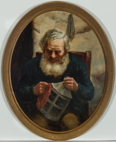 David W. Haddon (fl. 1884-1911) - English Oil, Portrait of a Cornish Fisherman