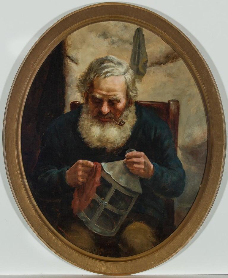 David W. Haddon (fl. 1884-1911) - English Oil, Portrait of a Cornish Fisherman - Painting by David W. Haddon