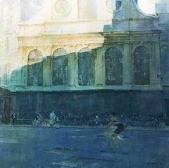 Light and Shade -illustrative yellow cityscape architecture watercolor