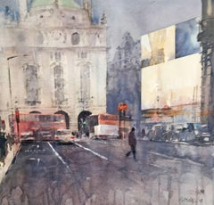 London Regent Street -illustrative cityscape architecture watercolor on paper