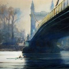 The Bridge at Hammersmith - London cityscape bridge Thames watercolor framed