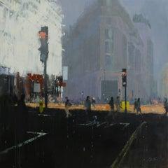 Bloomsbury -illustrative grey London cityscape architecture oil on board