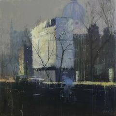 Brompton -illustrative grey London cityscape architecture oil on board