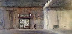Cutting Through  -illustrative cityscape architecture watercolor on paper