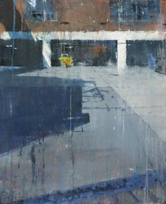 River Depot -contemporary cityscape architecture painting oil on board