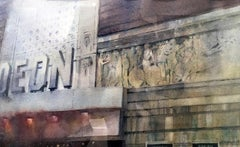 Silver Screen - contemporary London cityscape watercolour painting on paper