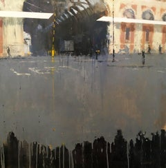 Smithfield -contemporary cityscape architecture painting oil on board