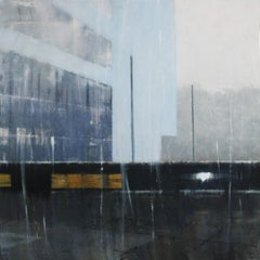 Southbank Walkway -contemporary cityscape architecture painting oil on board