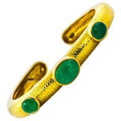 David Webb 10 Carat Cabochon Emeralds Cuff Bracelet 18 Karat Gold Handmade