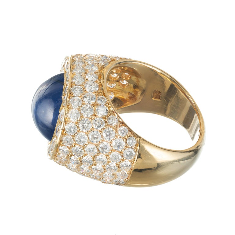 Oval Cut David Webb 14.4 Carat Star Sapphire Diamond Dome Cocktail Yellow Gold Ring For Sale