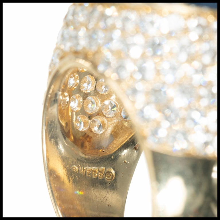 David Webb 14.4 Carat Star Sapphire Diamond Dome Cocktail Yellow Gold Ring For Sale 1