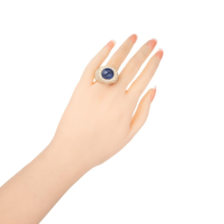 David Webb 14.4 Carat Star Sapphire Diamond Dome Cocktail Yellow Gold Ring For Sale 2