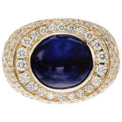 David Webb 14.4 Carat Star Sapphire Diamond Yellow Gold Dome Cocktail Ring