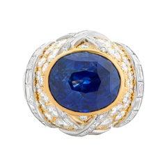 David Webb 16.62 Carat Oval Ceylon Sapphire and Diamond Ring in 18KYG & Platinum
