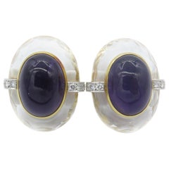 David Webb 18 Karat Amethyst Crystal Diamond Earrings