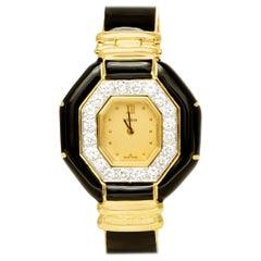 David Webb 18 Karat Black Enamel with Diamonds Watch
