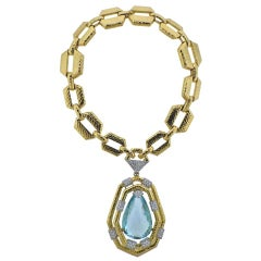 David Webb 18 Karat Gold 117 Carat Aquamarine Diamond Convertible Necklace