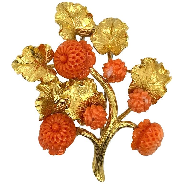 David Webb 18 Karat Gold and Carved Coral Floral Motif Brooch For Sale