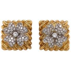 David Webb 18 Karat Gold and Diamond Ear Clips