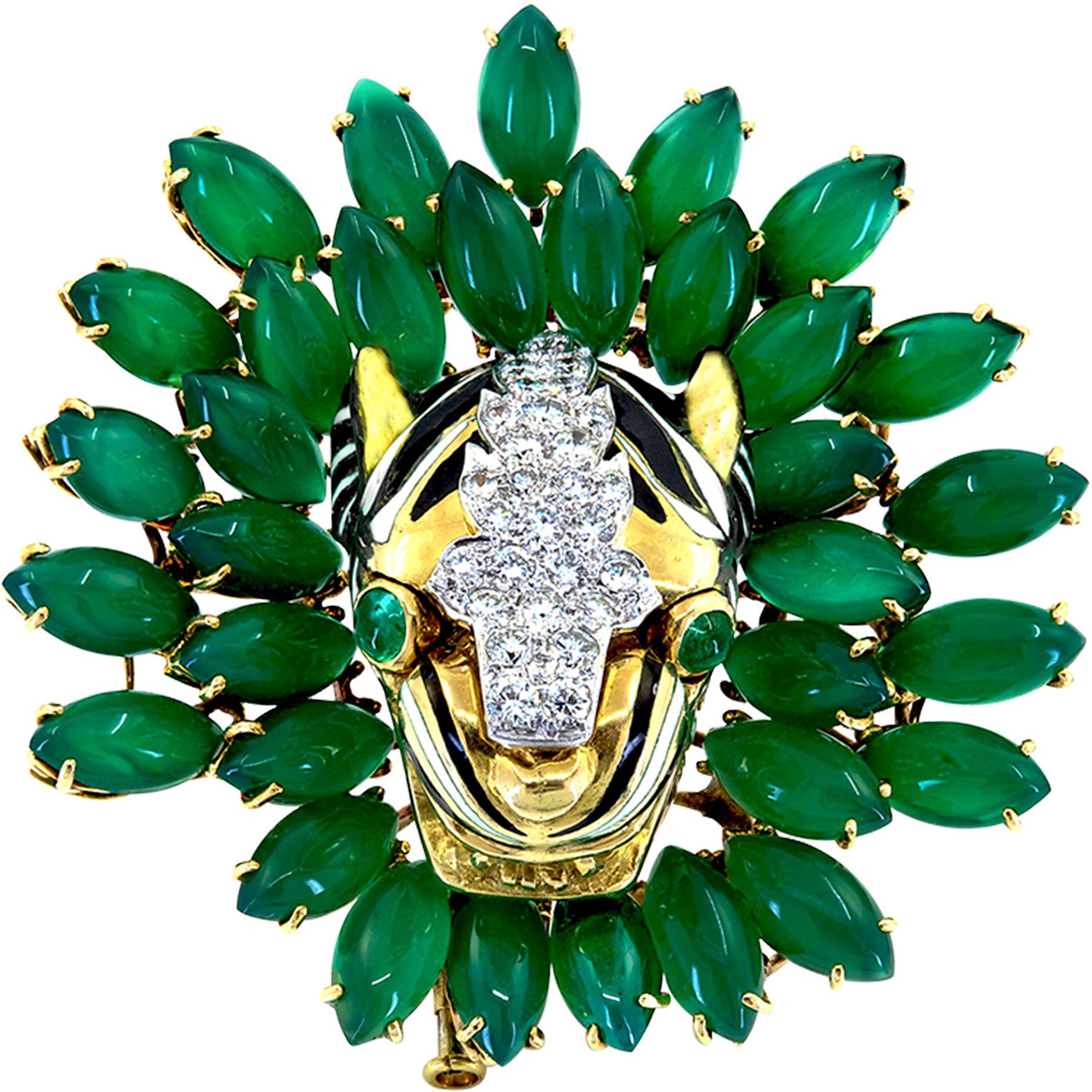 David Webb 18 Karat Gold and Platinum Onyx Emerald and Diamond Tiger Brooch