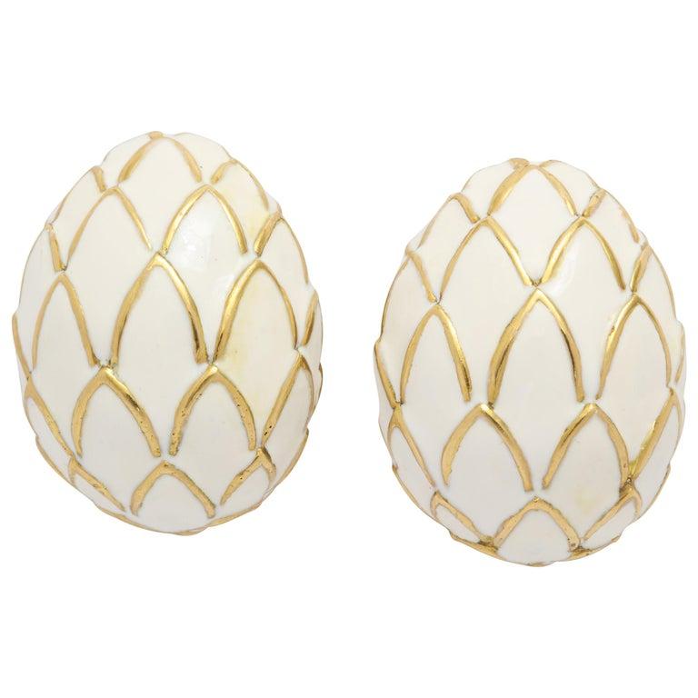 David Webb 18 Karat Gold and White Enamel Clip-On Earrings For Sale