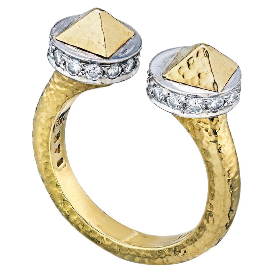 David Webb 18 Karat Gold Bastille Hammered Platinum and Diamond Ring