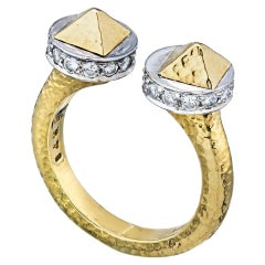 David Webb 18 Karat Gold Bastille Hammered Platinum and Diamond Ring