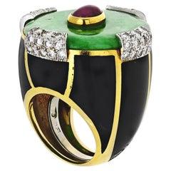 David Webb 18 Karat Gold Black Enamel Jade Diamond and Ruby Ring
