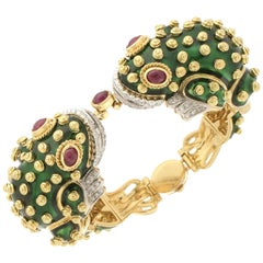 David Webb 18 Karat Gold Diamonds Ruby Green Enamel Frog Bracelet